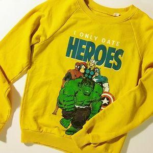 Yellow Marvel Heroes Sweater